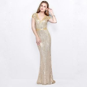PRIMAVERA COUTURE  V NECK SEQUINED GOWN 1709